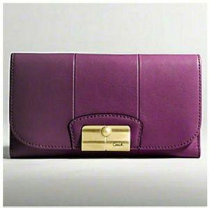 Purple Coach Kristin large Leather envelope wallet